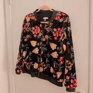 Velvet floral bomber style jacket
